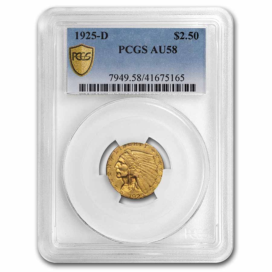 1925-D $2.50 Indian Gold Quarter Eagle AU-58 PCGS