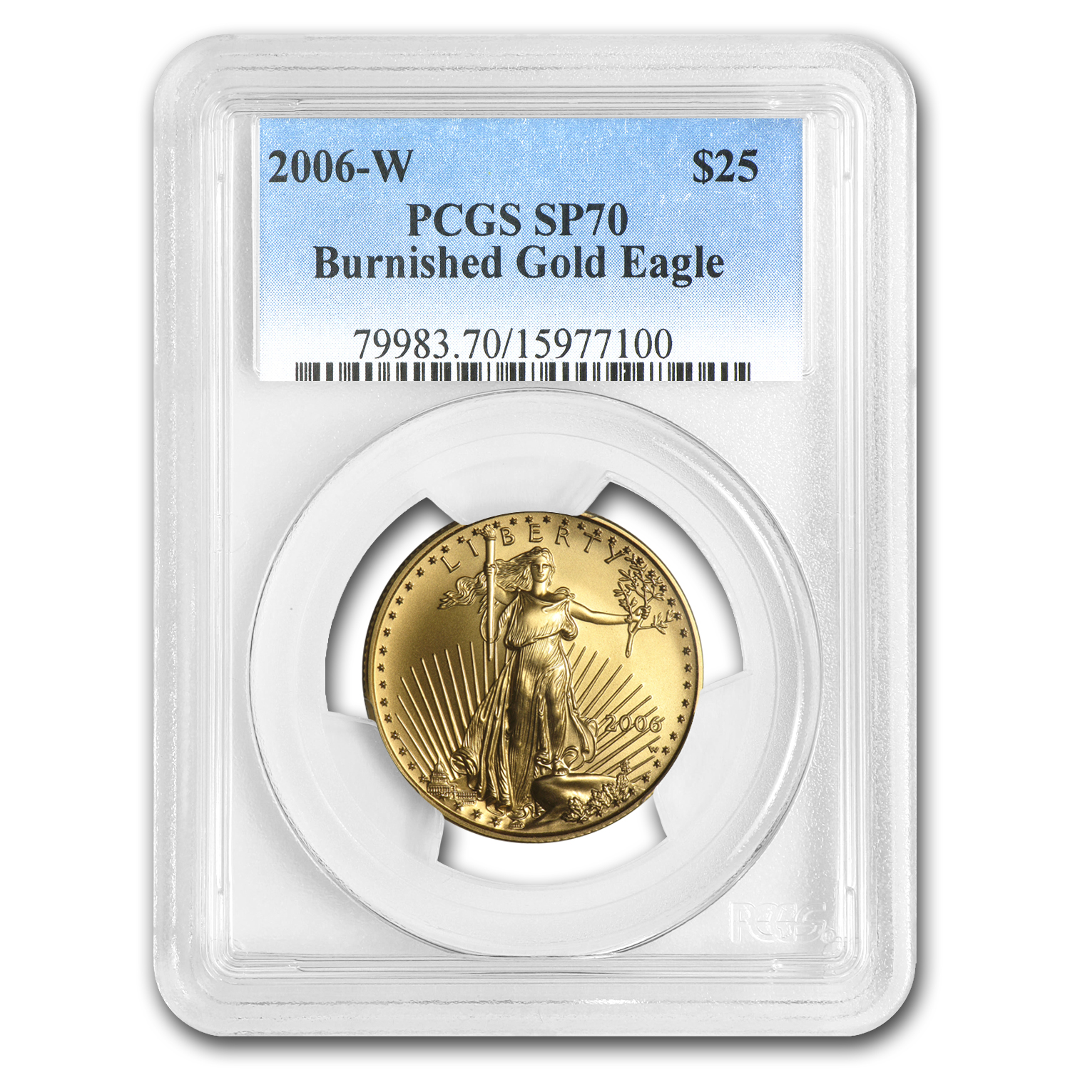 2006-W 1/2 oz Burnished Gold American Eagle SP-70 PCGS