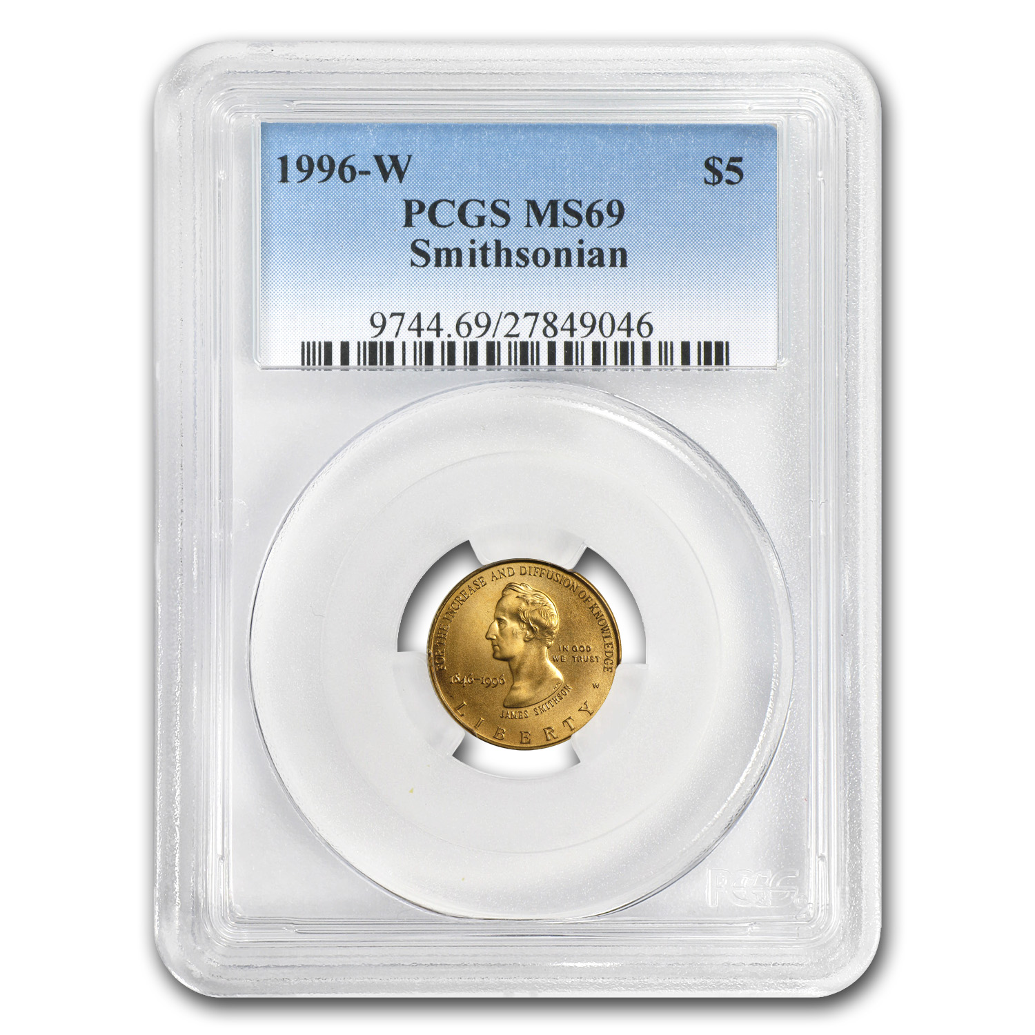 1996-W Gold $5 Commem Smithsonian Anniversary MS-69 PCGS