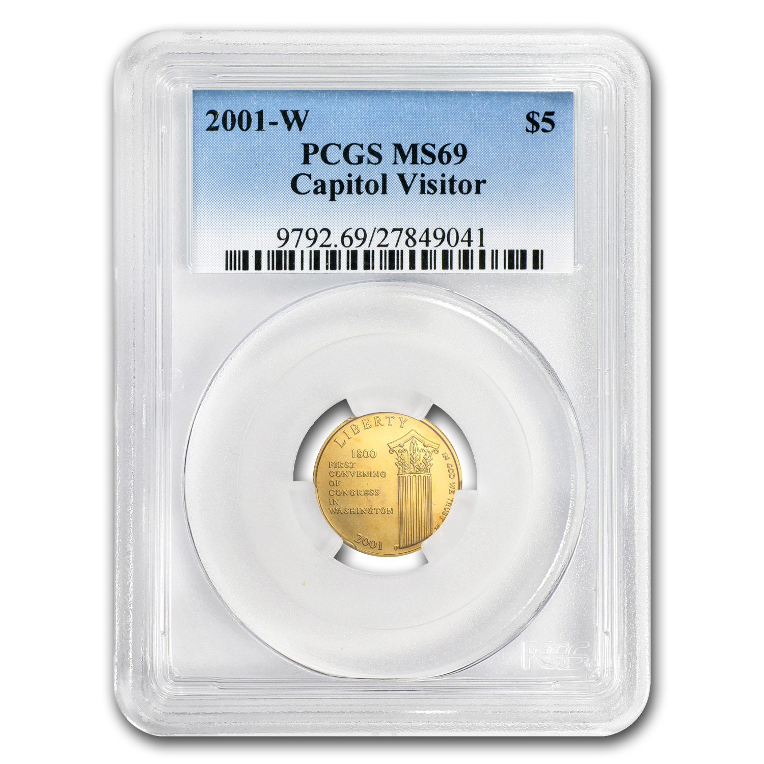 2001-W Gold $5 Commem Capitol Visitor Center MS-69 PCGS