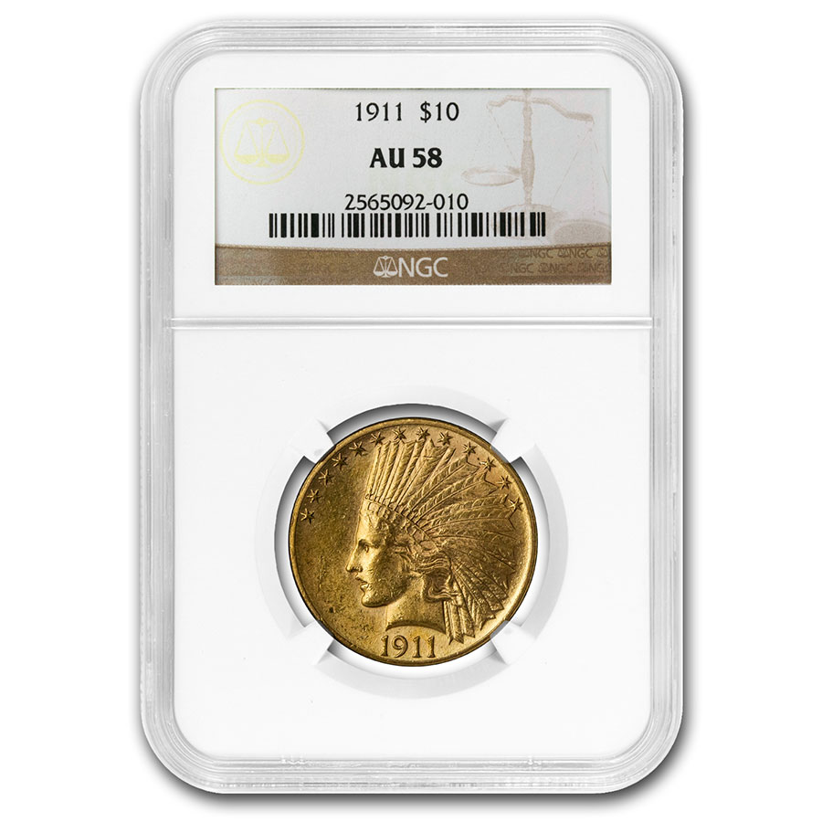 1911 $10 Indian Gold Eagle AU-58 NGC