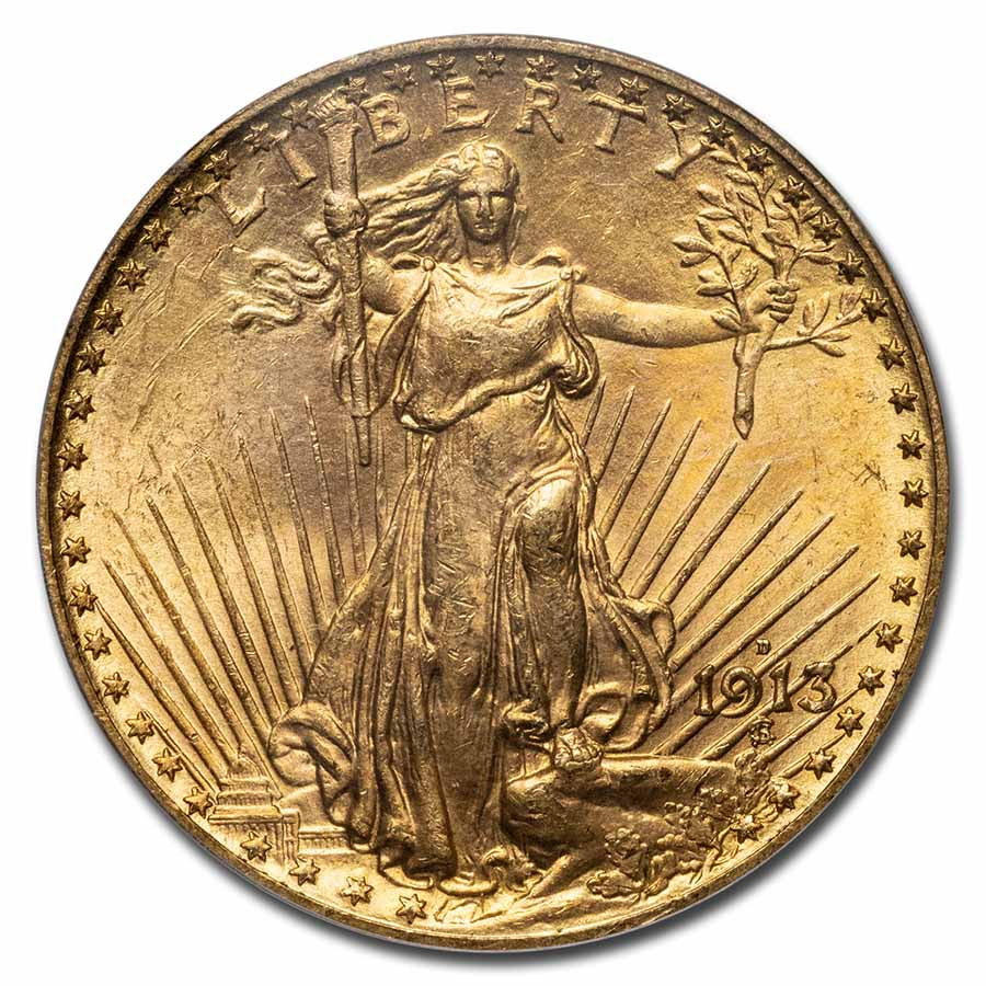 1913-D $20 St. Gaudens Gold Double Eagle MS-64 PCGS