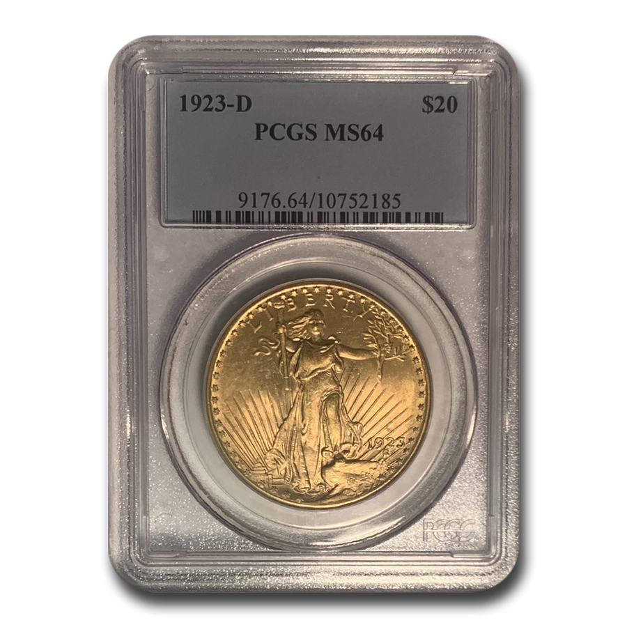 1923-D $20 St. Gaudens Gold Double Eagle MS-64 PCGS