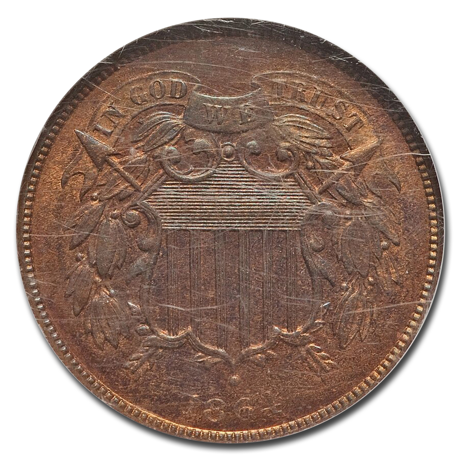 1864 Two Cent Piece Large Motto MS-65 NGC (Red/Brown)