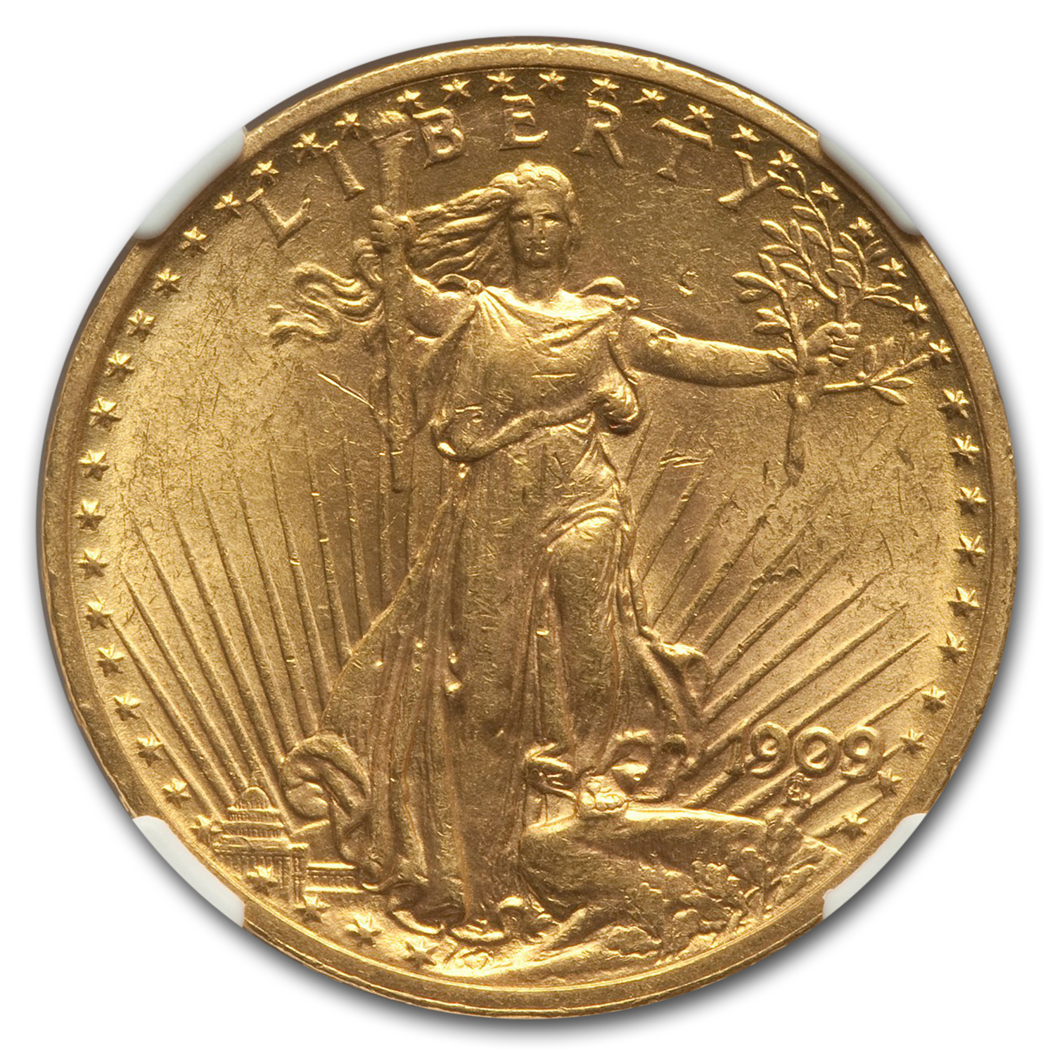 1909/8 $20 Saint-Gaudens Gold Double Eagle Overdate MS-61 NGC