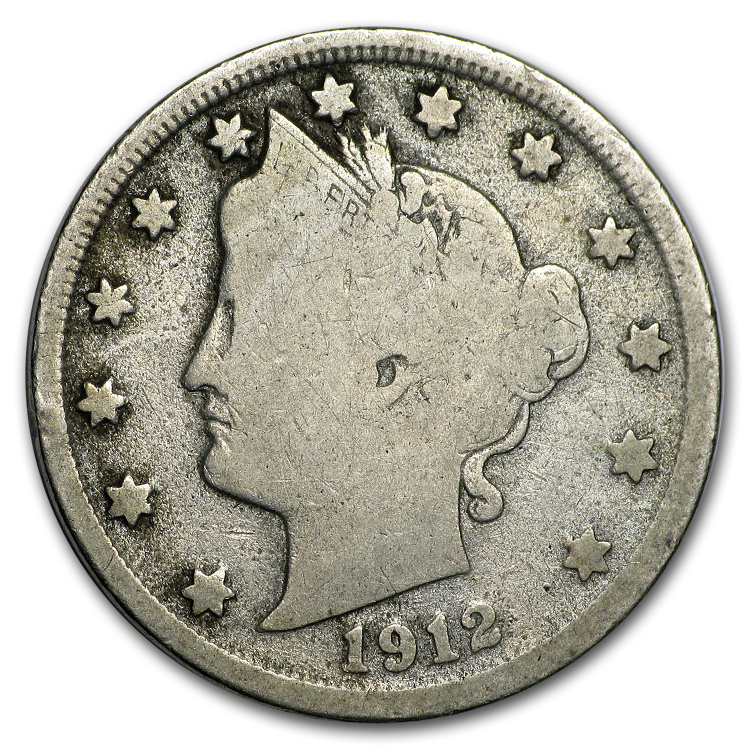 1912-S Liberty Head V Nickel VG