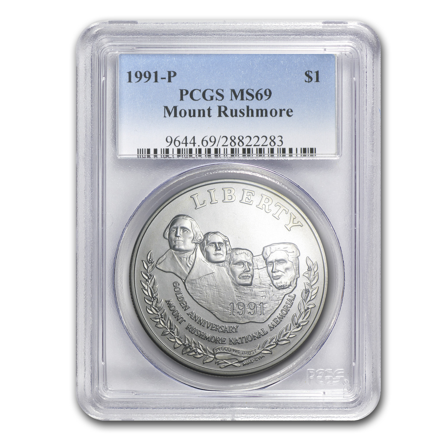 1991-P Mount Rushmore $1 Silver Commem MS-69 PCGS