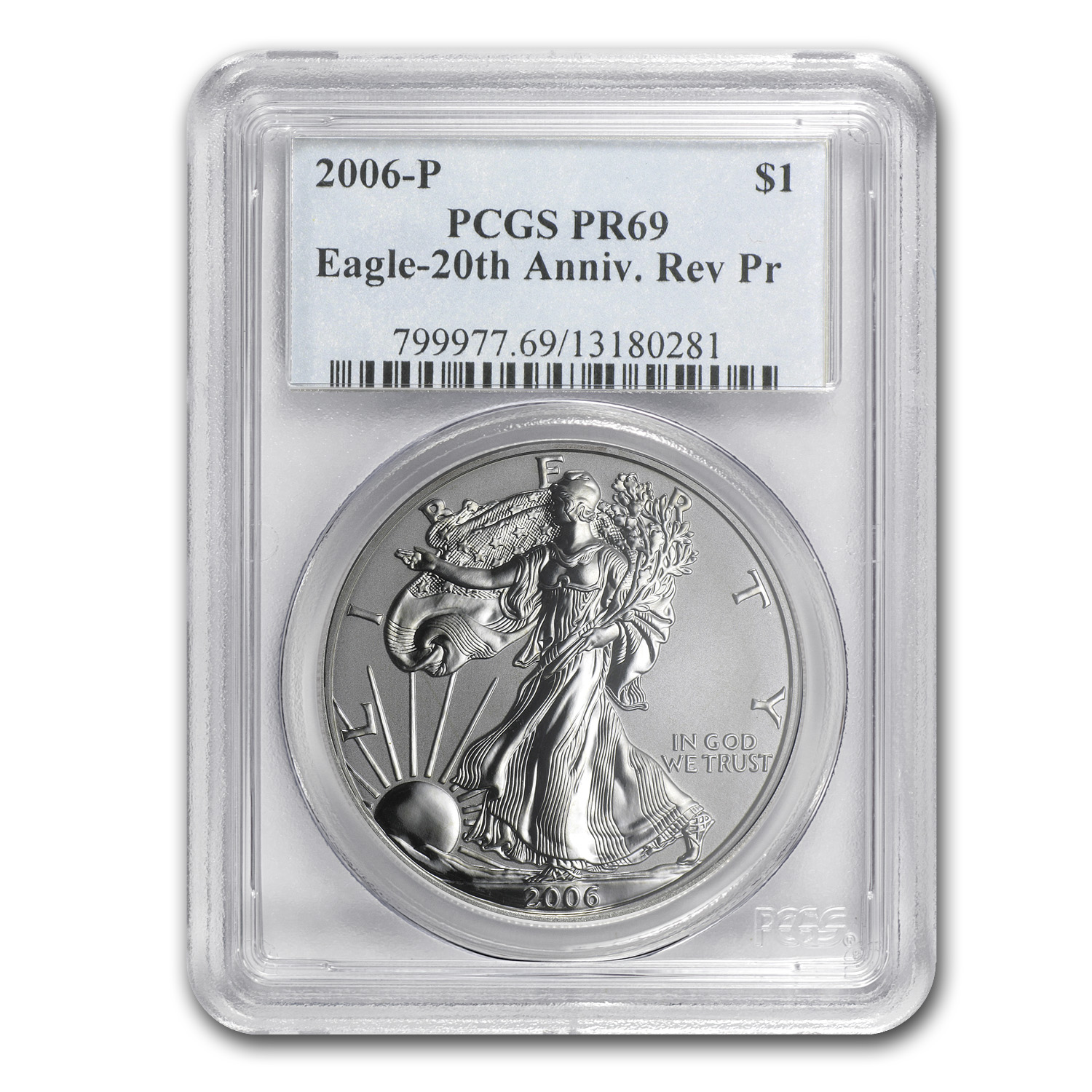 2006-P (Reverse Proof) Silver Eagle PR-69 PCGS 20th Anniv