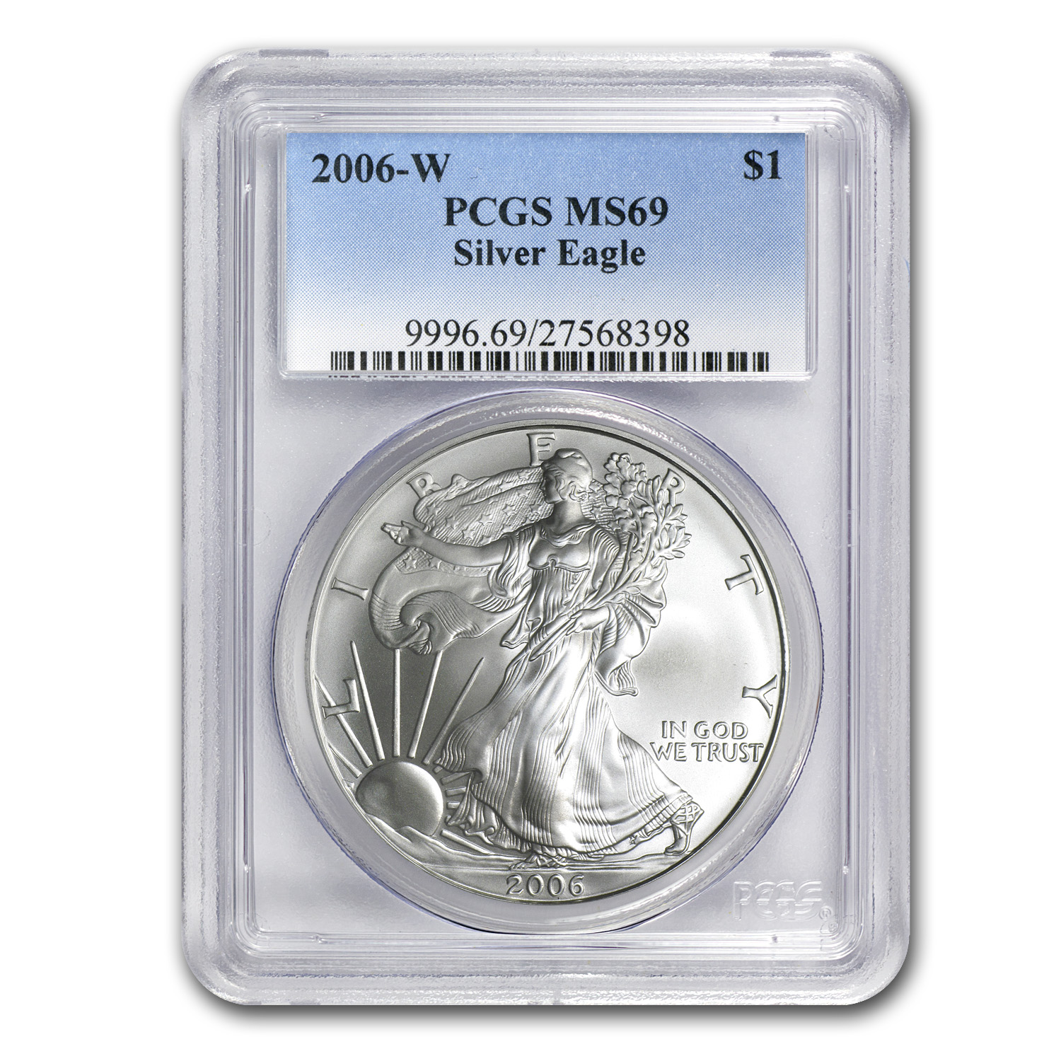 2006-W Burnished Silver American Eagle MS-69 PCGS