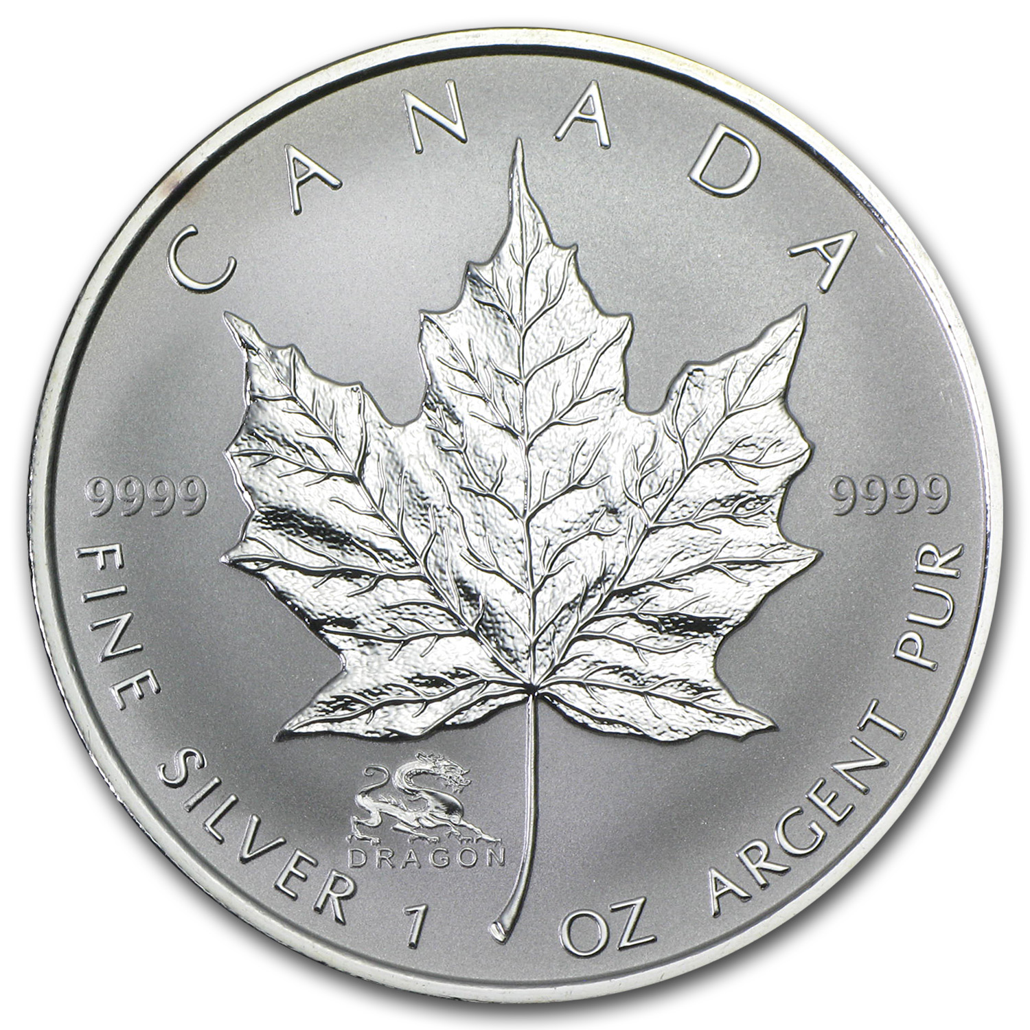 2000 Canada 1 oz Silver Maple Leaf Lunar DRAGON Privy