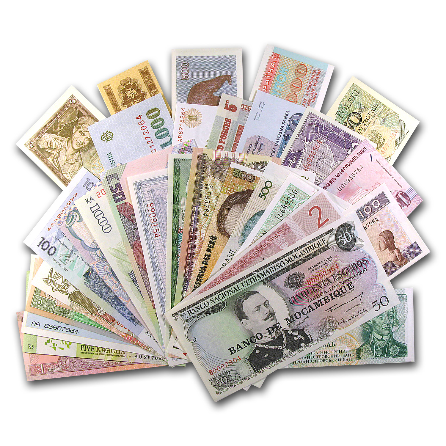 50 World Bank Notes - (From 50 Different Countries) Uncirculated