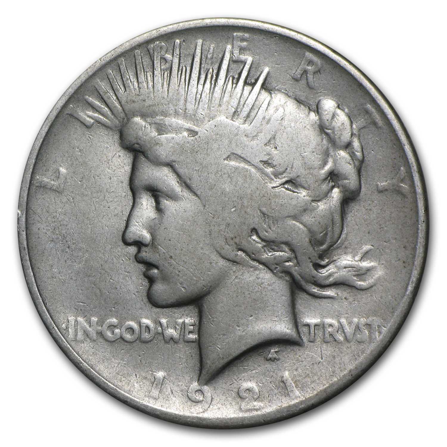 1921 Peace Dollar AG (High Relief)