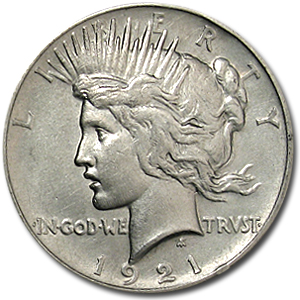 1921 Peace Dollar - Almost Uncirculated - High Relief