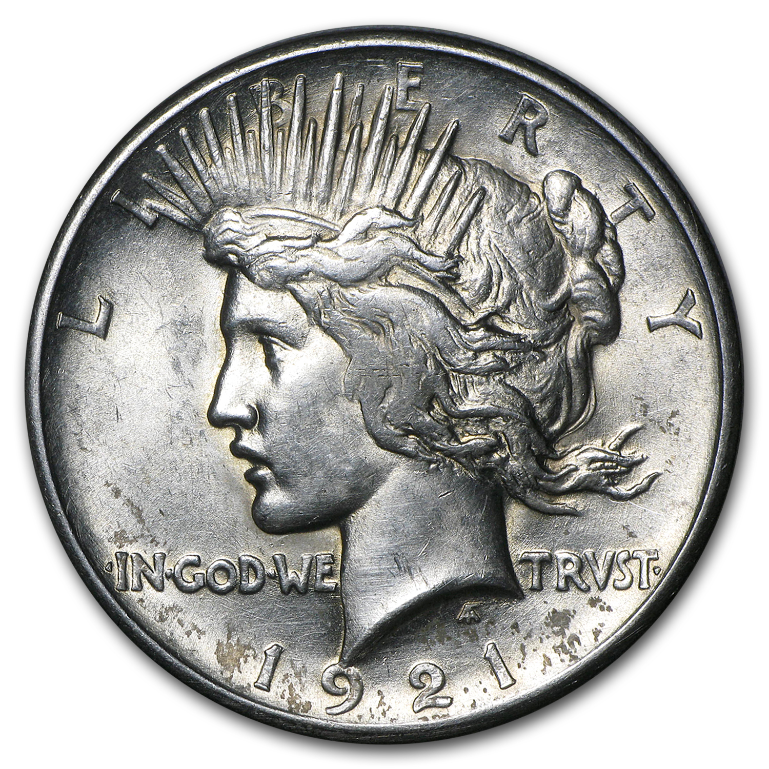 1921 Peace Dollar AU Details (High Relief, Cleaned)