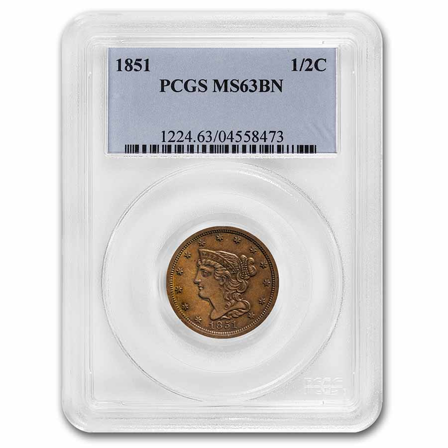 1851 Half Cent MS-63 PCGS (Brown)