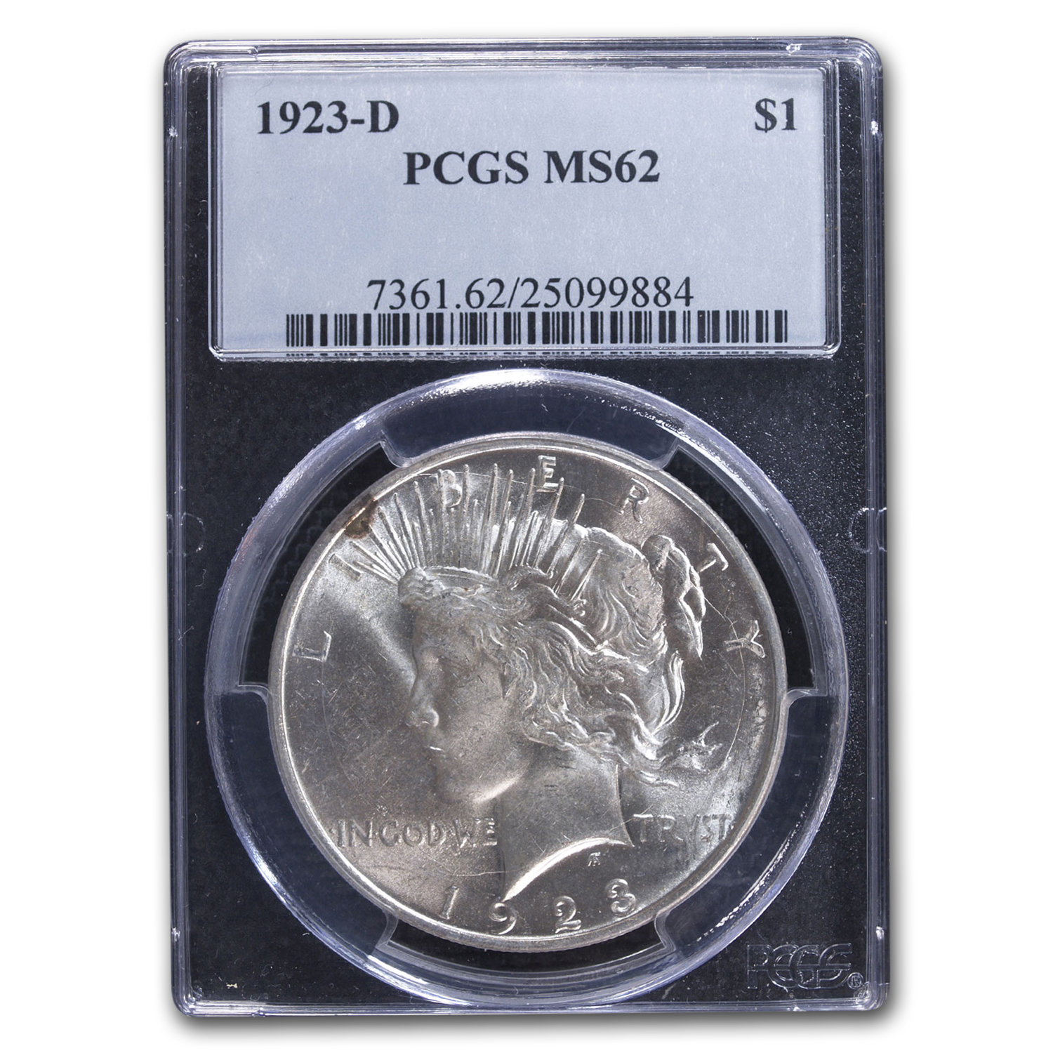 1923-D Peace Dollar MS-62 PCGS