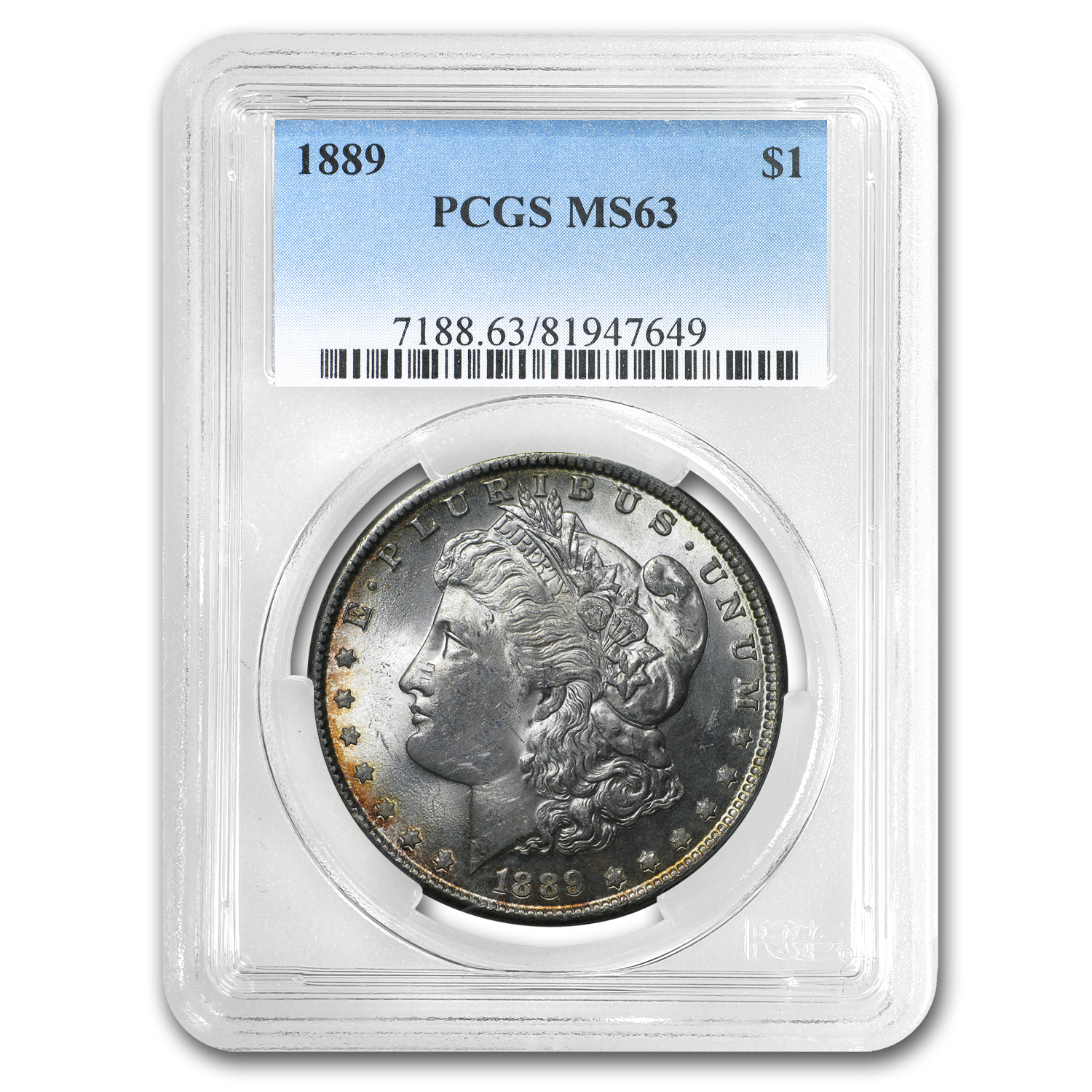 1889 Morgan Dollar MS-63 PCGS (Great Bag Toning Rev)