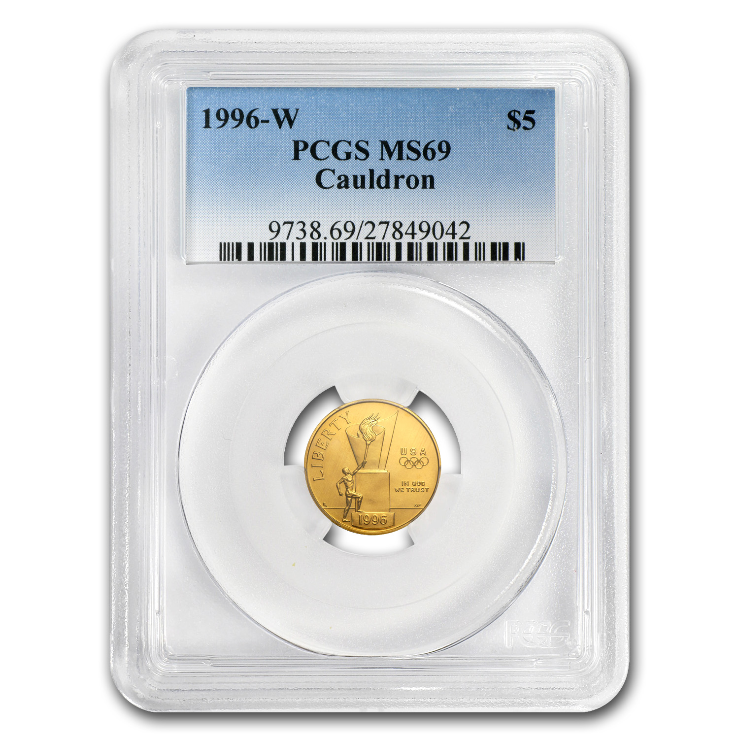 1996-W Gold $5 Commem Olympic Cauldron MS-69 PCGS