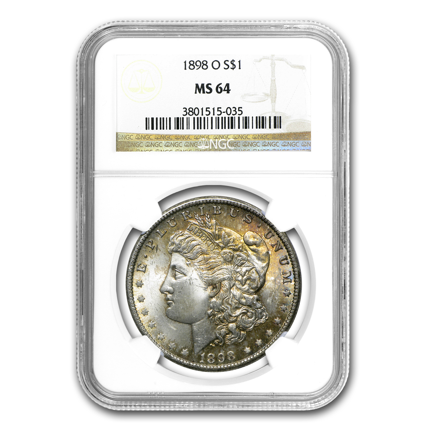 1898-O Morgan Dollar MS-64 NGC (Obv & Rev Toning)