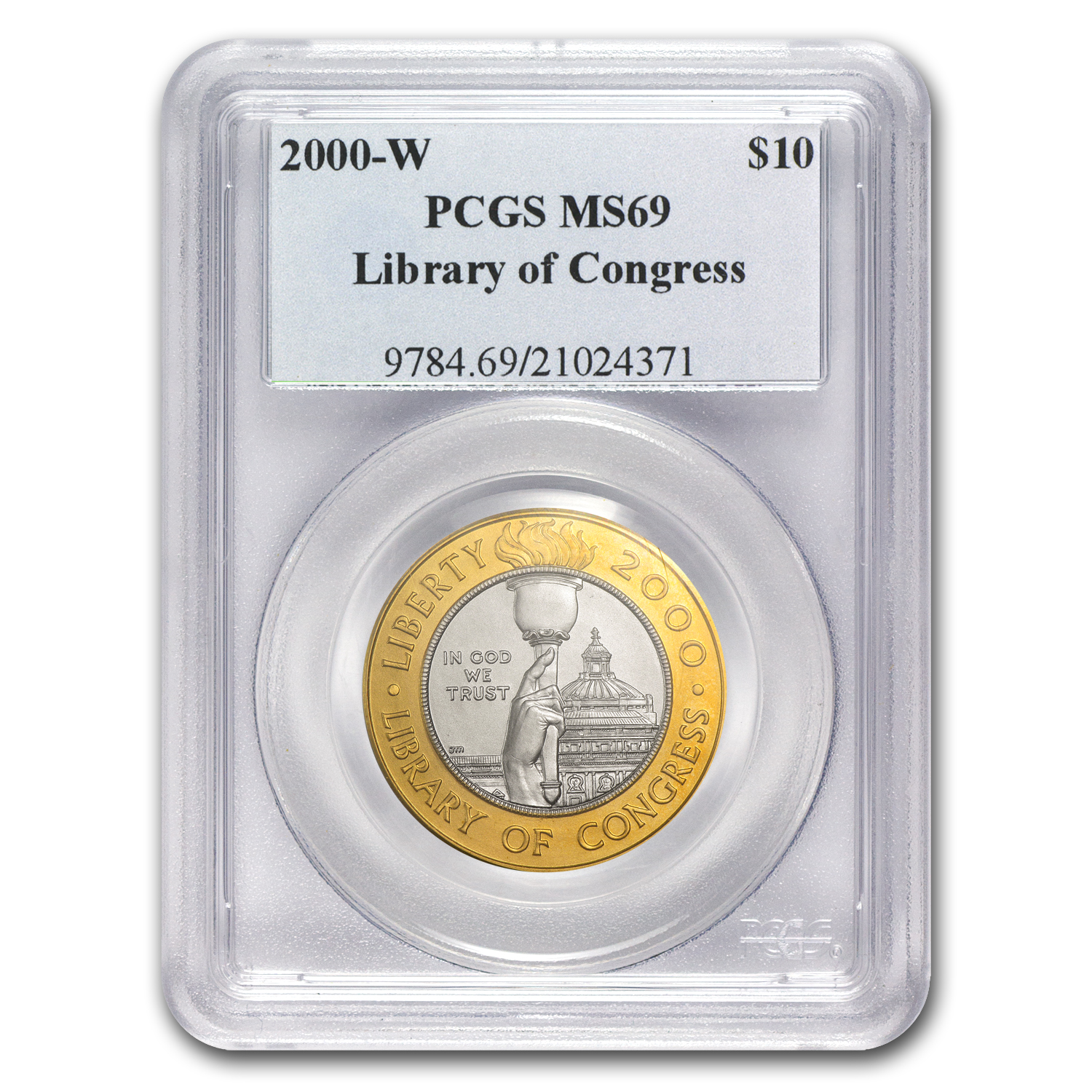 2000-W $10 Gold/Platinum Commem Library of Congress MS-69 PCGS