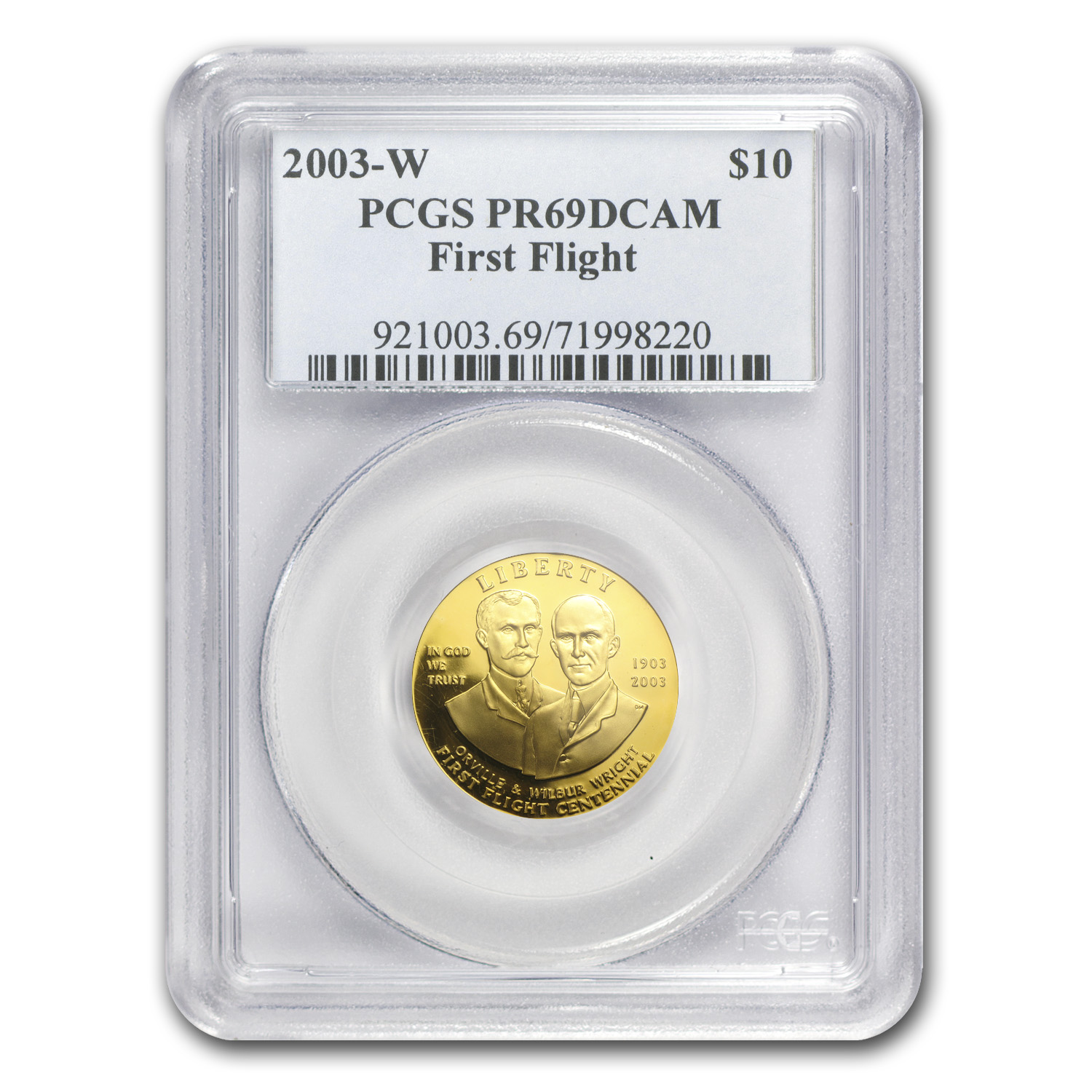 2003-W $10 Gold Commem First Flight Centennial PR-69 PCGS
