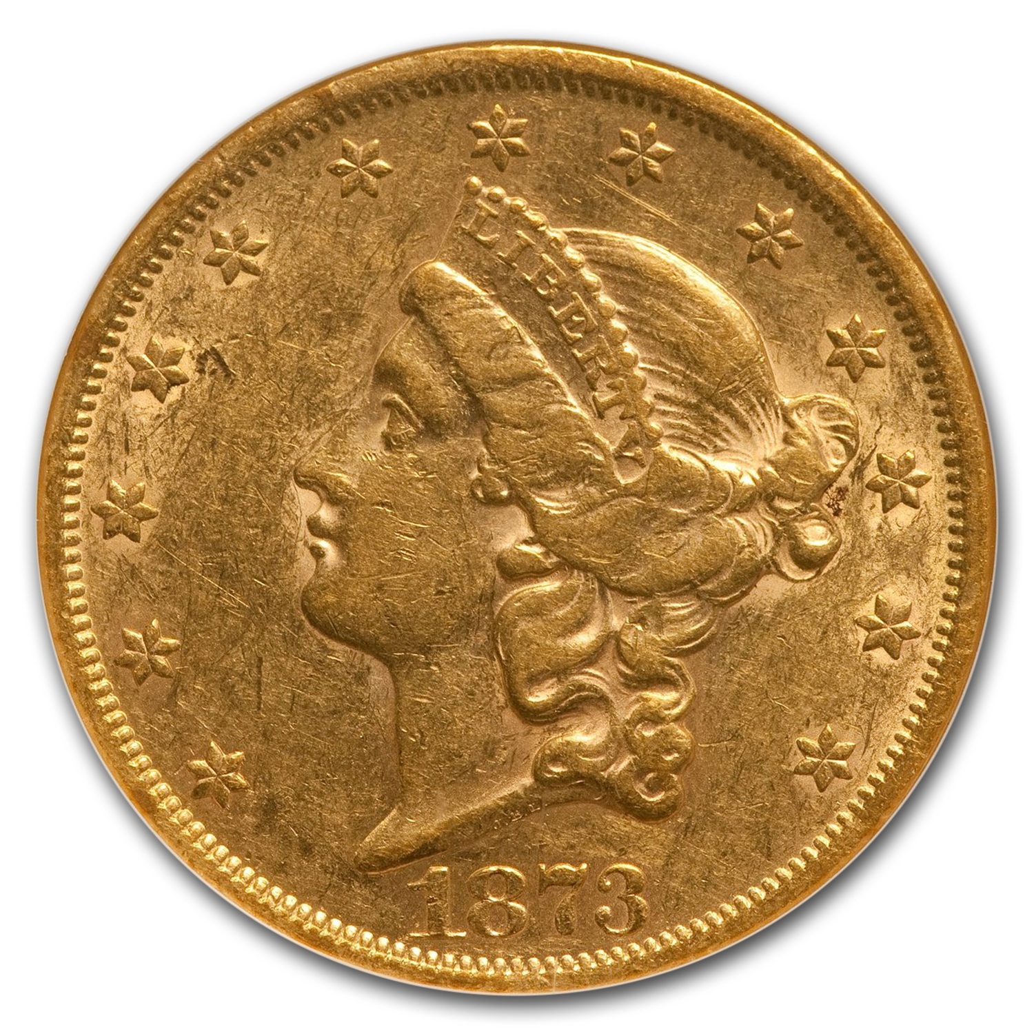 1873 $20 Liberty Gold Double Eagle Open 3 AU-50 NGC