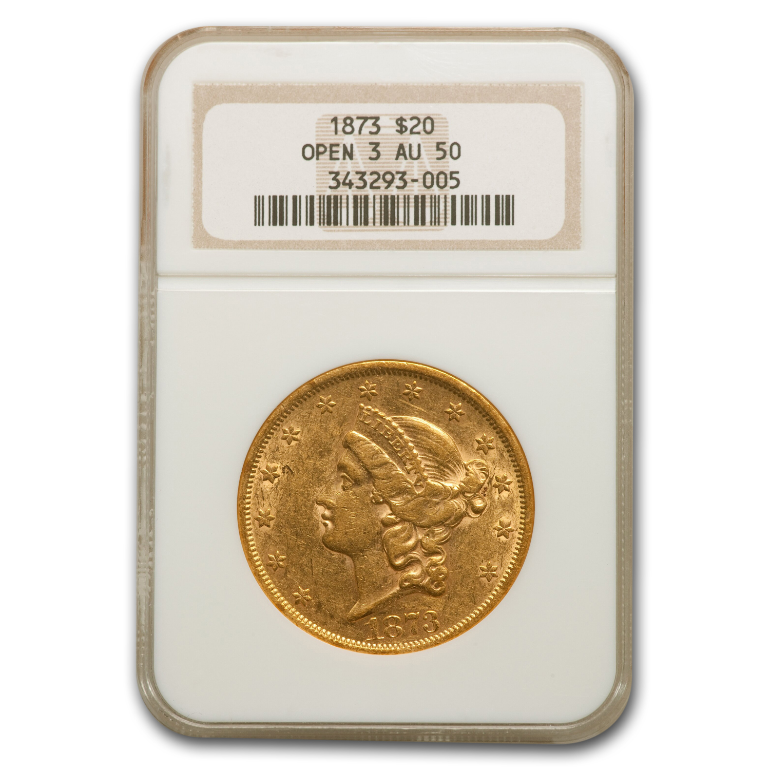1873 $20 Gold Liberty Double Eagle - (Open 3) - AU-50 NGC