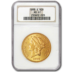 $20 Liberty Gold Double Eagle MS-61 NGC (1800s S-Mint)