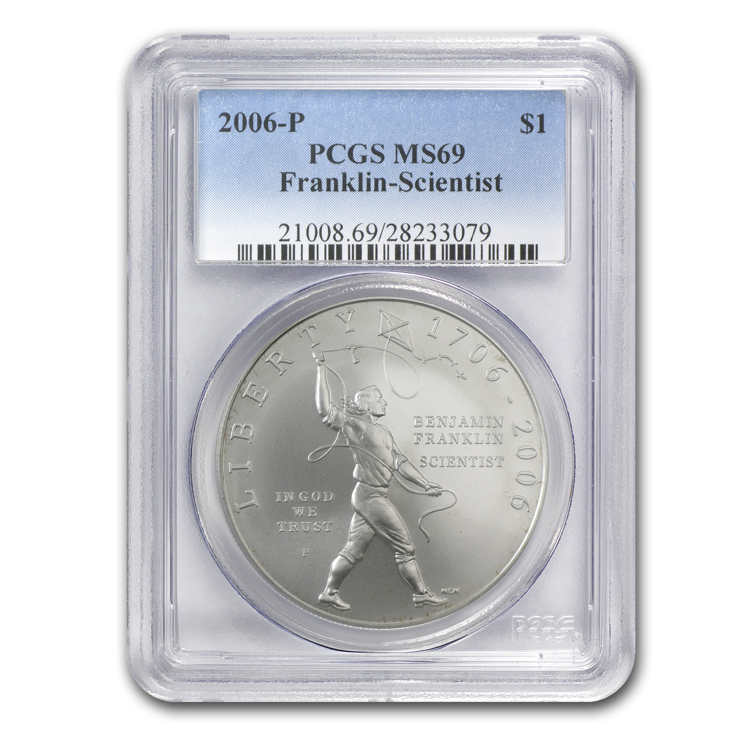 2006-P Ben Franklin Scientist $1 Silver Commem MS-69 PCGS