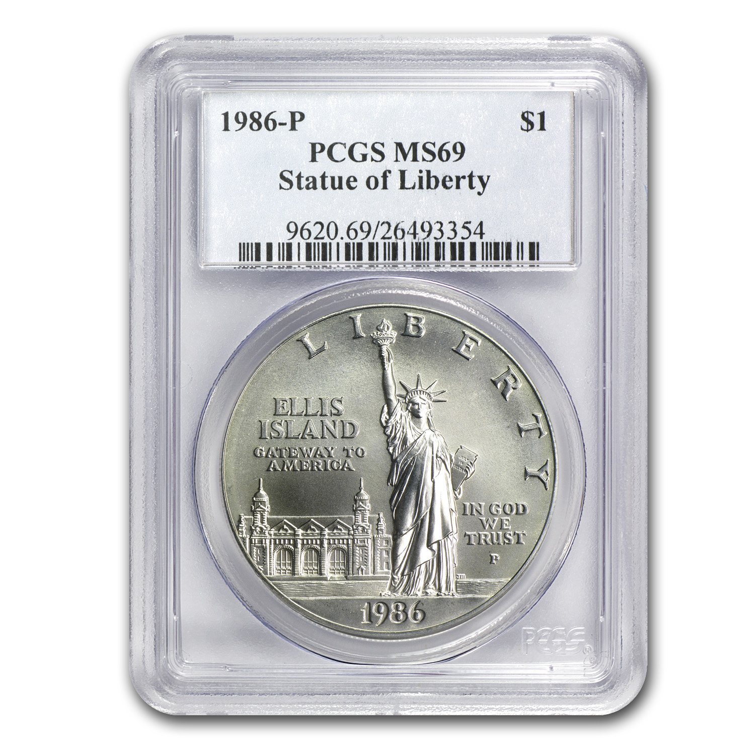 1986-P Statue of Liberty $1 Silver Commem MS-69 PCGS