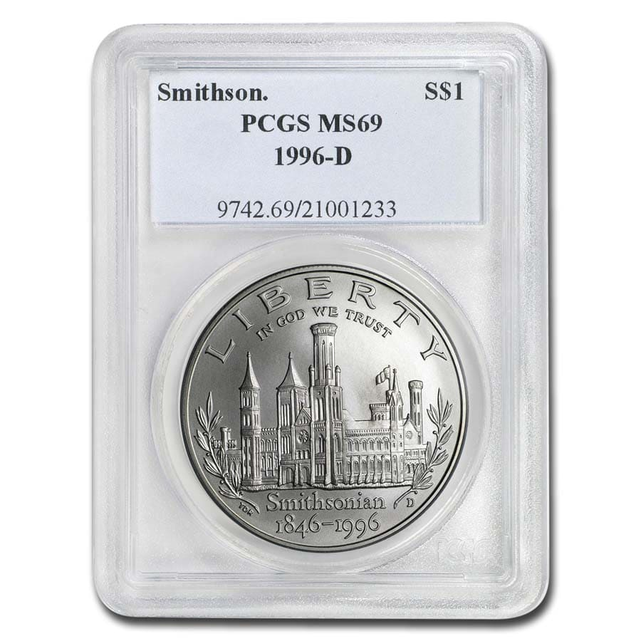 1996-D Smithsonian $1 Silver Commemorative - MS-69 PCGS