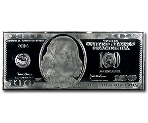 4 Oz Silver Bar 100 Bill Replica All Other Sizes