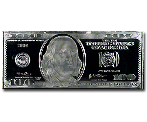 4 Oz Silver Bar 100 Bill Replica All Other Sizes