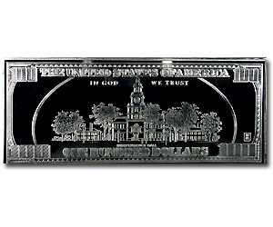 4 oz Silver Bars - $100 Bill (Replica)