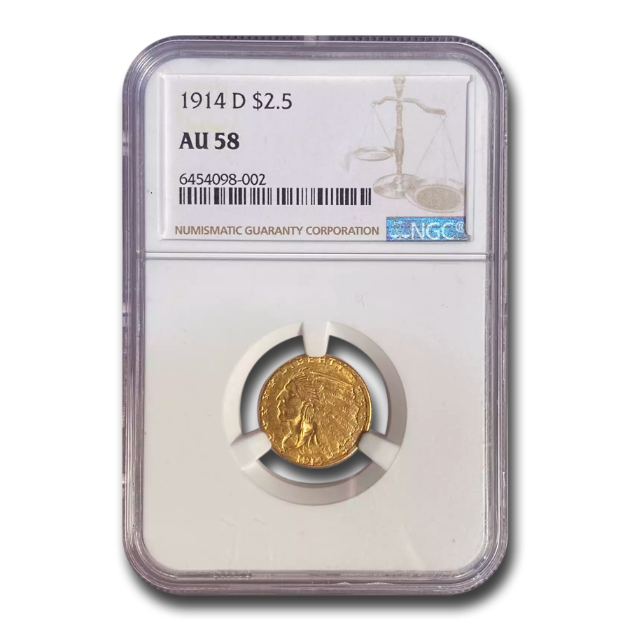 1914-D $2.50 Indian Gold Quarter Eagle - AU-58 NGC