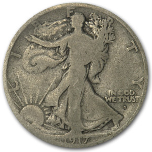 1917-S Obverse Walking Liberty Half Dollar VG