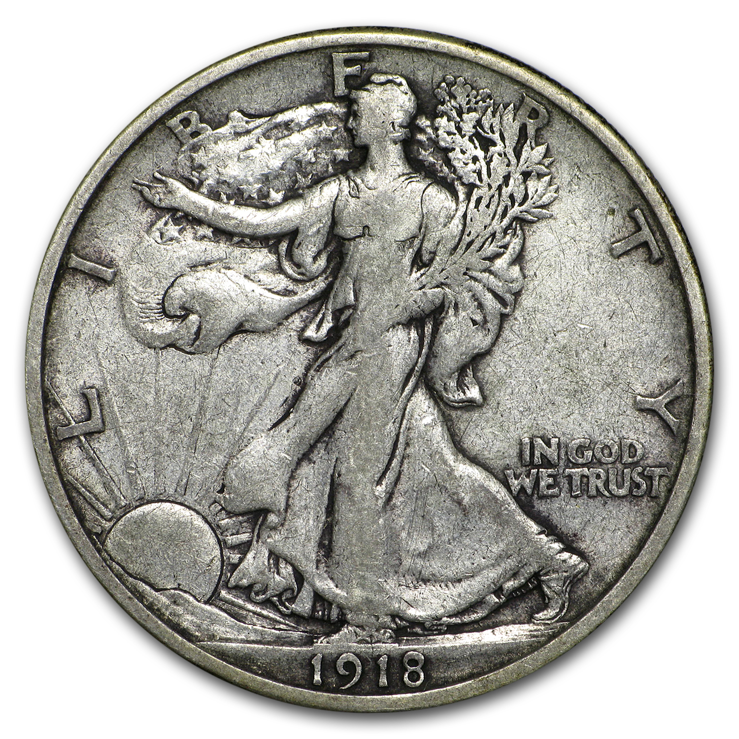 1918-S Walking Liberty Half Dollar VF