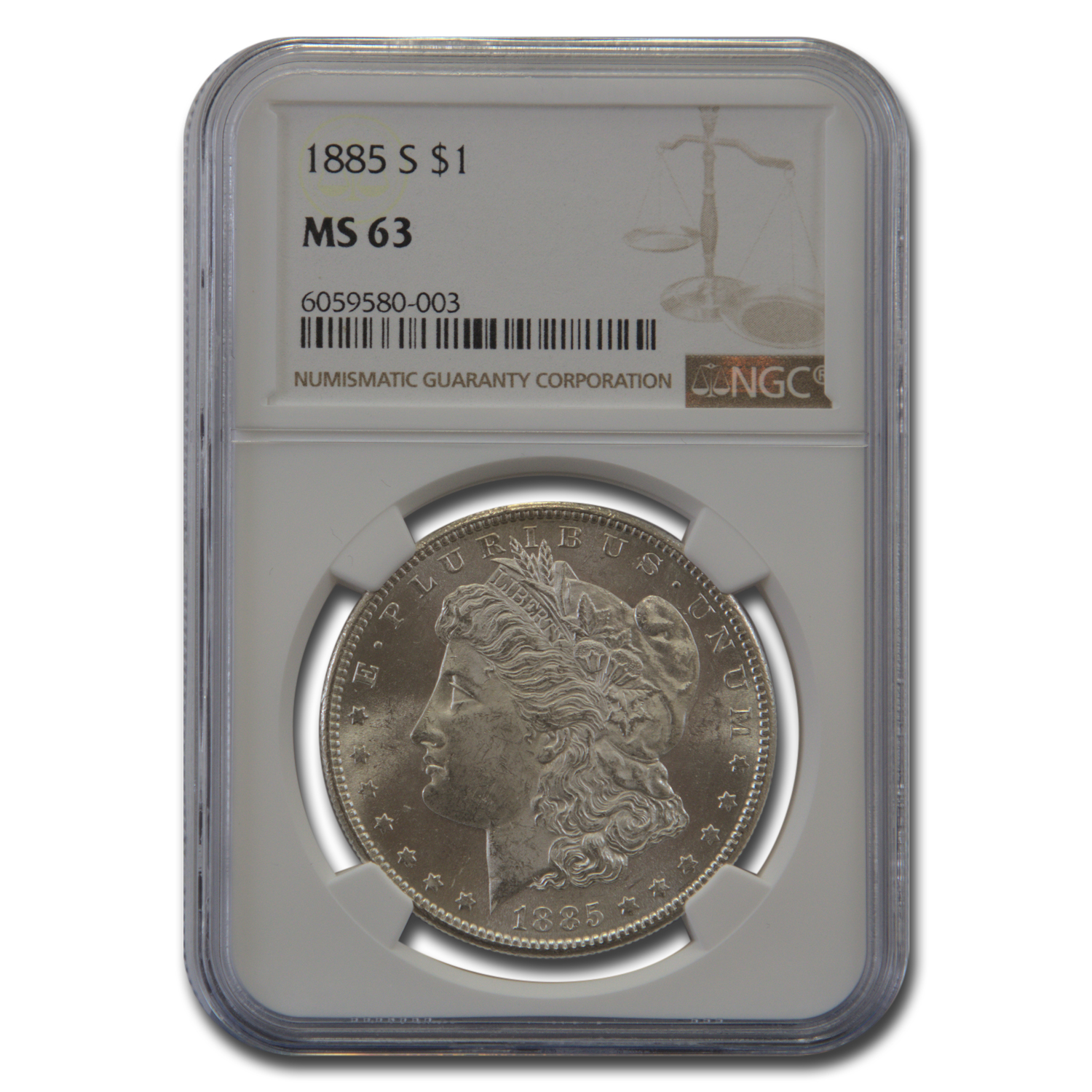 1885-S Morgan Dollar MS-63 NGC