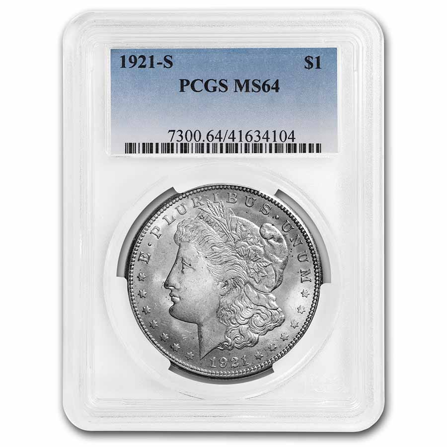 1921-S Morgan Dollar MS-64 PCGS