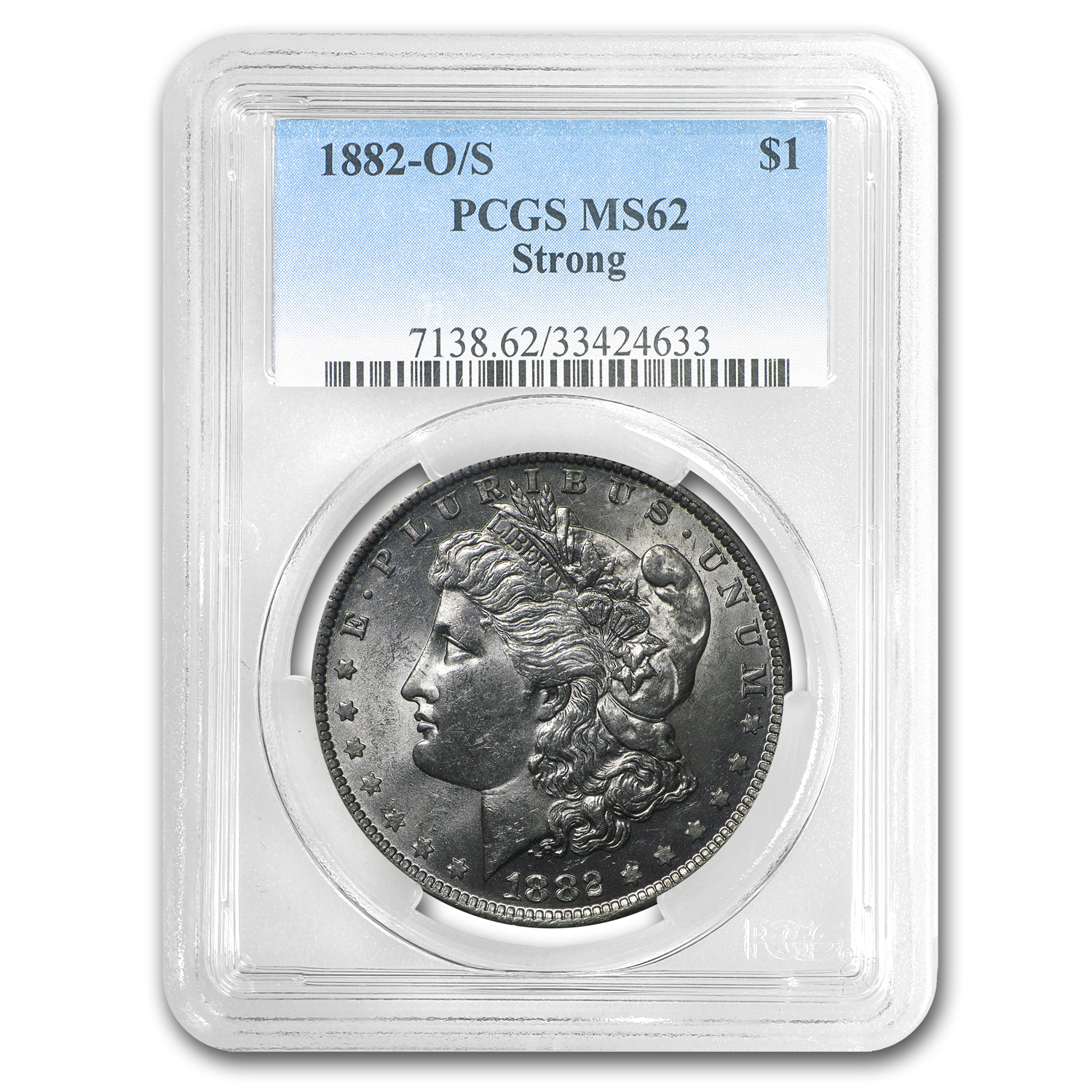 1882-O/S Morgan Dollar MS-62 PCGS (Strong)
