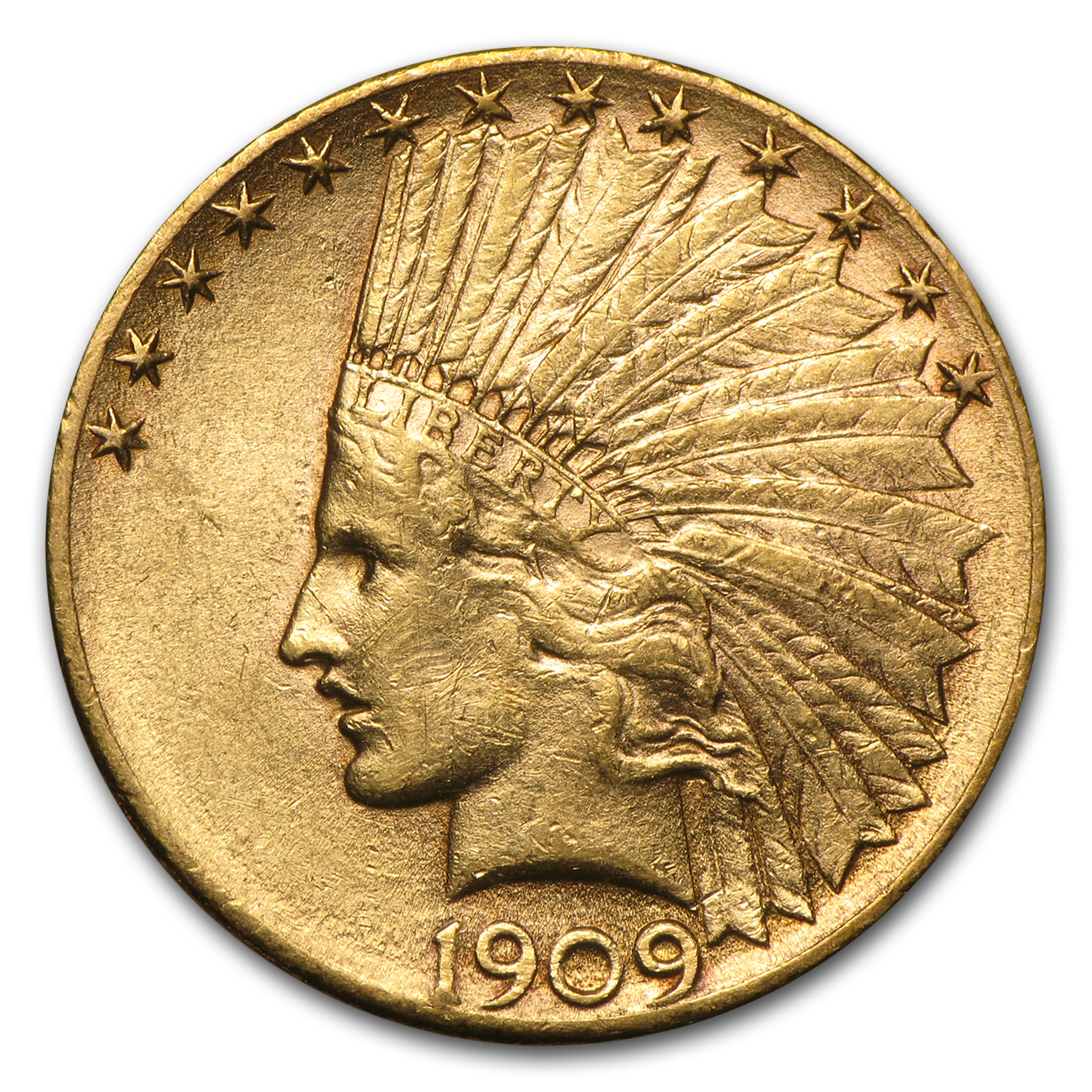 1909-D $10 Indian Gold Eagle Almost Uncirculated