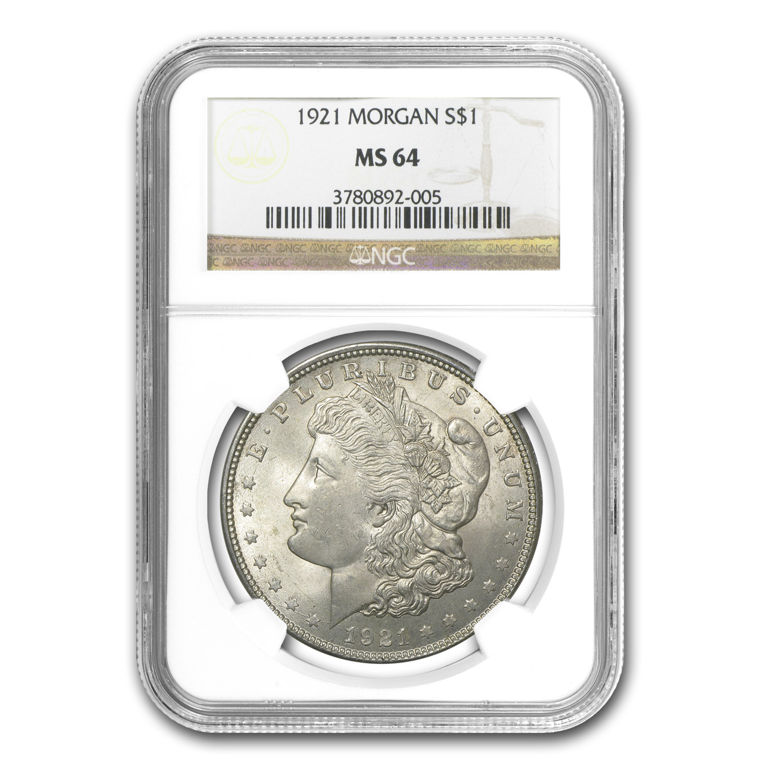 1921 Morgan Dollar MS-64 NGC