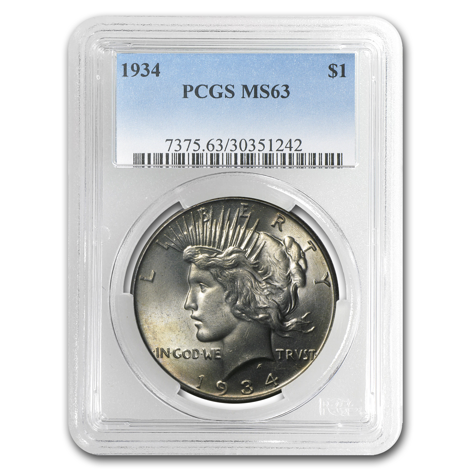 1934 Peace Dollar MS-63 PCGS