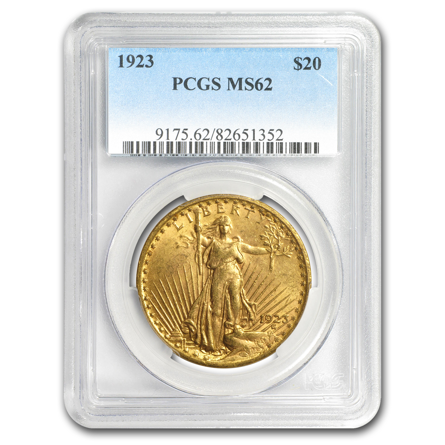 1923 $20 St. Gaudens Gold Double Eagle - MS-62 PCGS