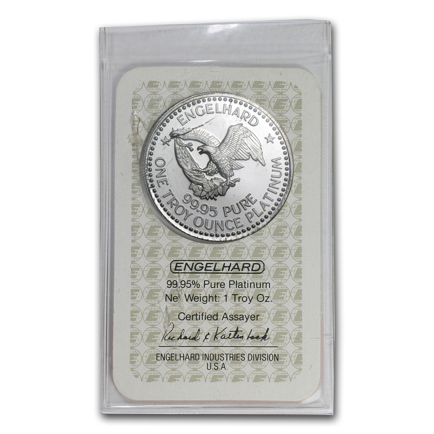 1 oz Platinum Round - Engelhard Prospector (In Assay)