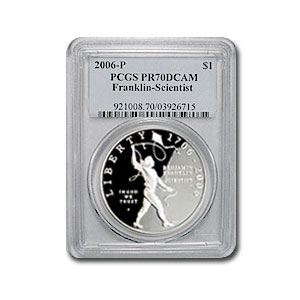 2006-P Ben Franklin Scientist $1 Silver Commem PR-70 DCAM PCGS