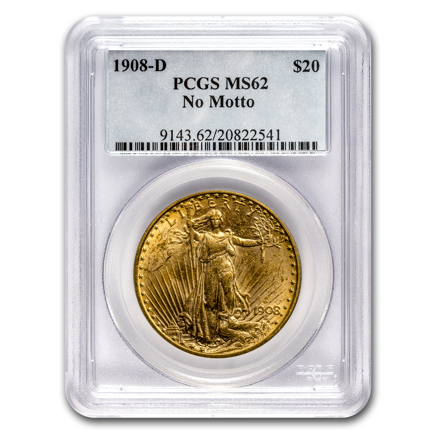 1908-D $20 Saint-Gaudens Gold No Motto MS-62 PCGS
