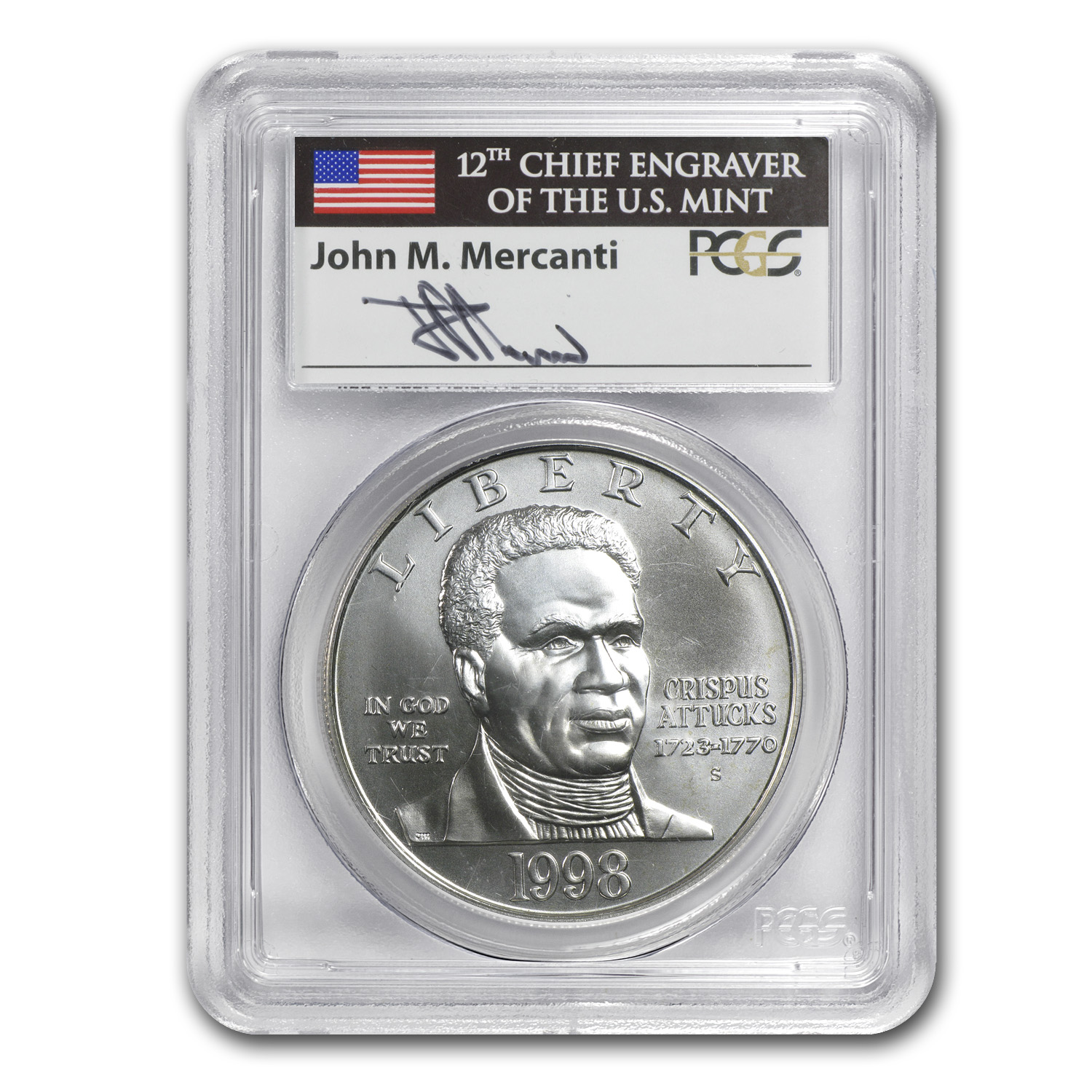 1998-S Black Patriots $1 Silver Commemorative MS-69 PCGS