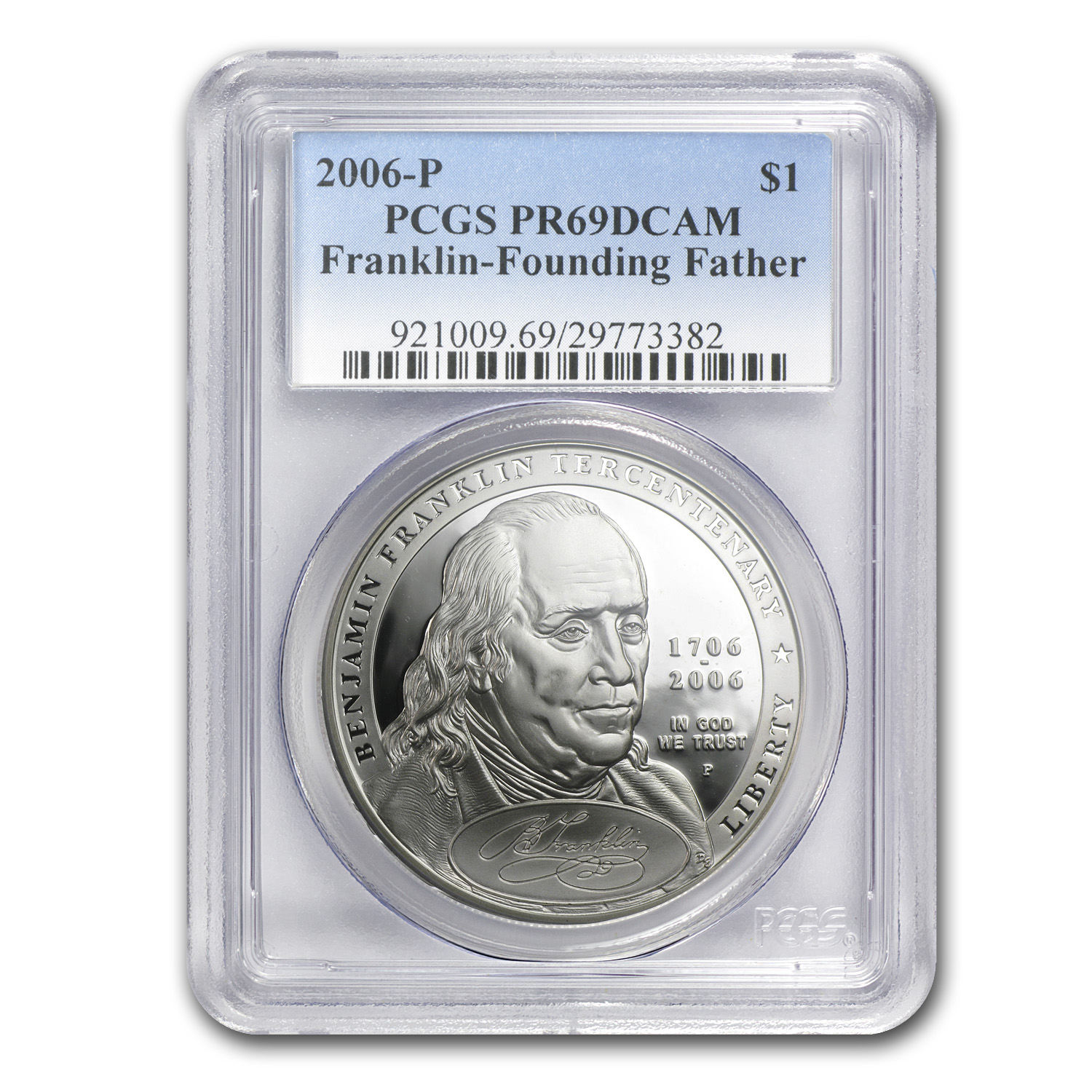 2006-P Ben Franklin Founding Father $1 Silver Commem PR-69 PCGS