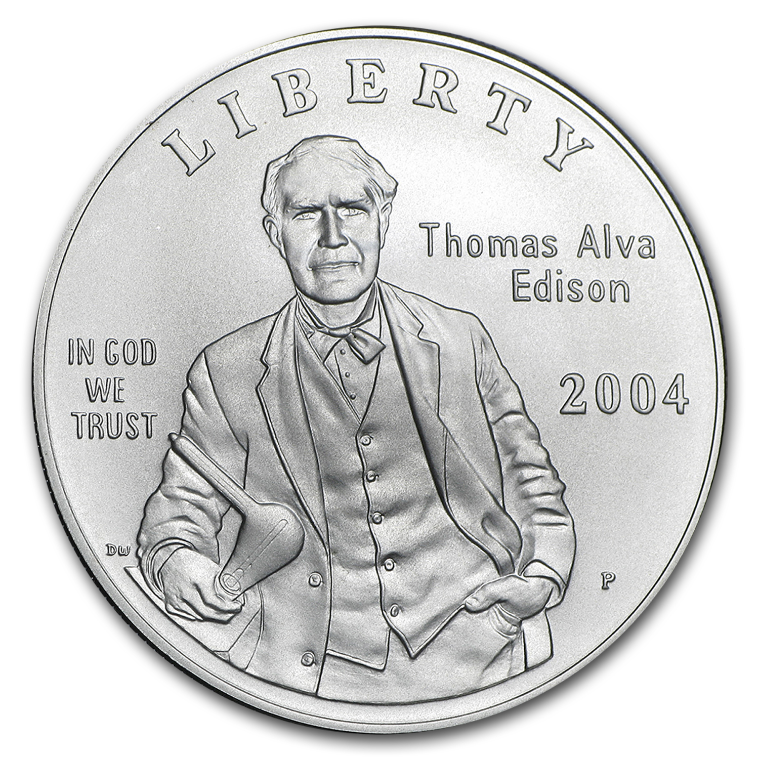 2004-P Thomas Edison $1 Silver Commem Collector Set BU (w/Light)